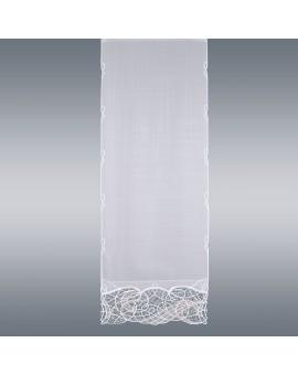 Hochwertige Flächengardine Venna aus Plauener Spitze weiß-taube Käseleinenoptik breit