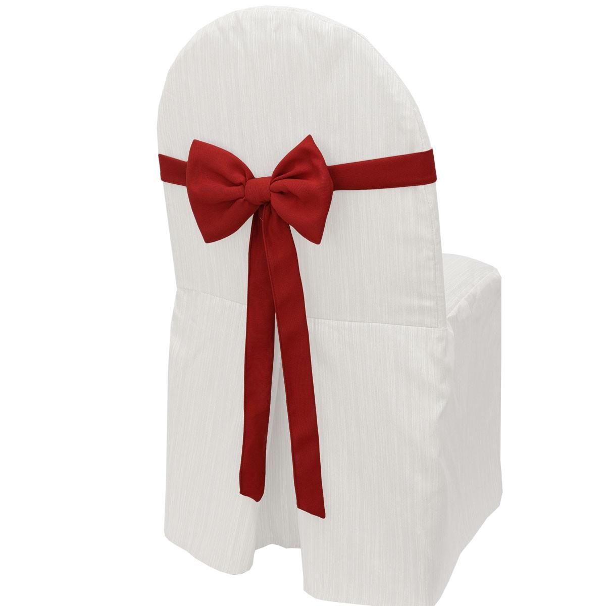 Schmuckschleife Hetty für Stuhlhussen und Stehtische Rot am Stuhl