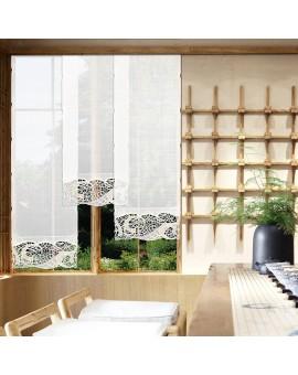 Hochwertige Flächengardine Venna aus Plauener Spitze weiß-beige Käseleinenoptik klein mit Hintergrund