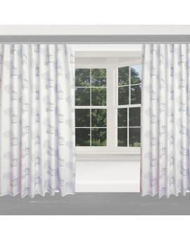 Hochwertiger Dekoschal Seaside blau-weiß-grau Reihband am Fenster