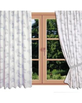 Hochwertiger Dekoschal Seaside blau-weiß-grau Reihband am Fenster Sommer