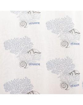 Hochwertiger Dekoschal Seaside blau-weiß-grau mit Ösen Stoffmuster