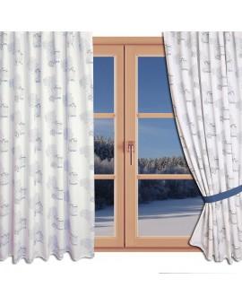 Hochwertiger Dekoschal Seaside blau-weiß-grau mit Ösen gerafft am Fenster Winter