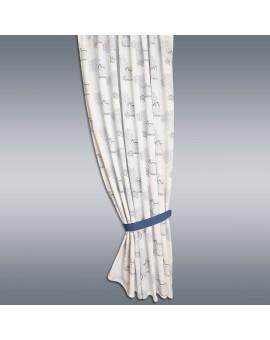 Hochwertiger Dekoschal Seaside blau-weiß-grau mit Ösen gerafft, blauer Raffhalter