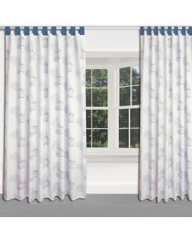 Hochwertiger Dekoschal Seaside blau-weiß-grau mit blauen Schlaufen am Fenster