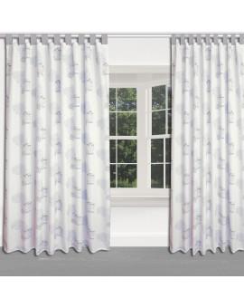 Hochwertiger Dekoschal Seaside blau-weiß-grau mit grauen Schlaufen am Fenster