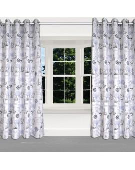 Hochwertiger Dekoschal Husum blau-weiß-grau mit Ösen am Fenster
