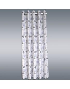 Hochwertiger Dekoschal Husum blau-weiß-grau mit Ösen mit Hintergrund