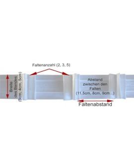 3 m Reihband Automatik-Faltenband Gardinenband 1:2,5 weiß 50mm 3 Falten 12018-50