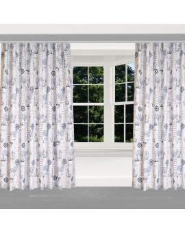 Hochwertiger Dekoschal Husum blau-weiß-grau Reihband am Fenster