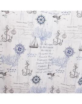 Hochwertiger Dekoschal Husum blau-weiß-grau Reihband Stoffmuster
