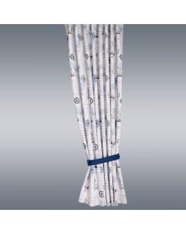 Hochwertiger Dekoschal Husum blau-weiß-grau Reihband bsp mit blauem Raffhalter