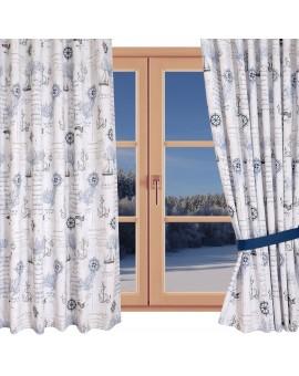 Hochwertiger Dekoschal Husum blau-weiß-grau Reihband gerafft am Fenster Winter