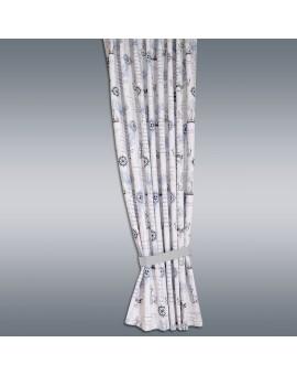 Hochwertiger Dekoschal Husum blau-weiß-grau Reihband bsp mit grauem Raffhalter