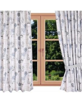 Hochwertiger Dekoschal Husum blau-weiß-grau Reihband gerafft am Fenster Sommer