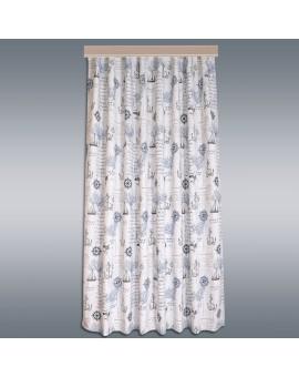 Hochwertiger Dekoschal Husum blau-weiß-grau Reihband mit HIntergrund