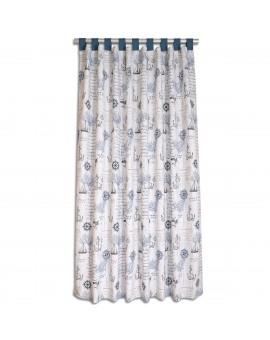 Hochwertiger Dekoschal Husum blau-grau-weiß mit blauen Schlaufen