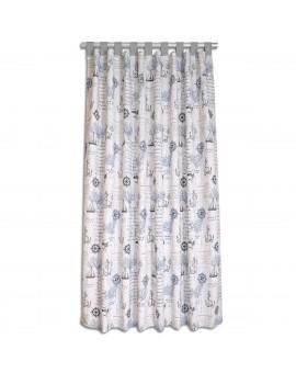 Hochwertiger Dekoschal Husum blau-grau-weiß mit grauen Schlaufen