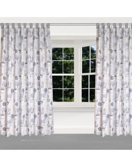 Hochwertiger Dekoschal Husum blau-grau-weiß mit grauen Schlaufen am Fenster