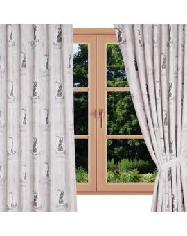 Hochwertiger Dekoschal Walden beige-braun mit Ösen gerafft am Fenster Sommer
