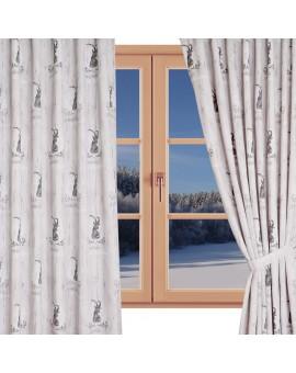 Hochwertiger Dekoschal Walden beige-braun Reihband gerafft am Fenster Winter