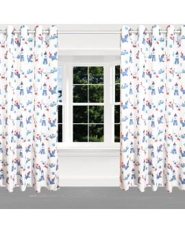 Hochwertiger Dekoschal Blubb-Kids in Blau-Rot mit Ösen am Fenster
