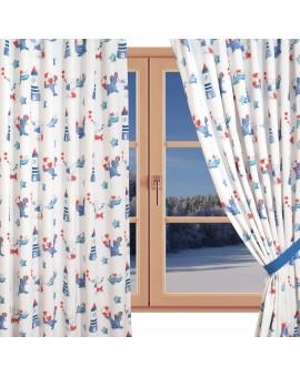 Dekoschal Blubb-Kids in Blau-Rot mit Reihband gerafft am Fenster Winter