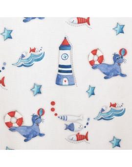 Dekoschal Blubb-Kids in Blau-Rot mit hellblauen Schlaufen Stoffmuster