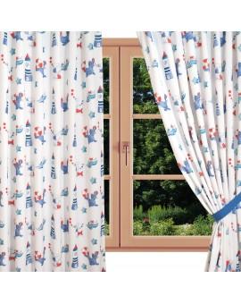 Dekoschal Blubb-Kids in Blau-Rot mit hellblauen Schlaufen am Fenster Sommer