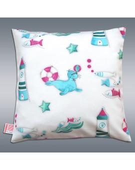 Kissenhülle Blubb-Kids in Grün-Pink 40x40 cm mit Füllung