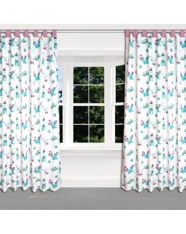 Dekoschal Blubb-Kids in Grün-Pink mit rosanen Schlaufen am Fenster