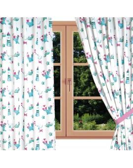 Dekoschal Blubb-Kids in Grün-Pink mit Reihband am Fenster Sommer