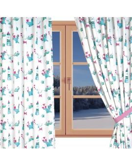 Dekoschal Blubb-Kids in Grün-Pink mit Reihband am Fenster WInter