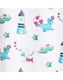 Dekoschal Blubb-Kids in Grün-Pink mit Ösen Stoffmuster