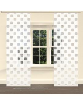 """Flächengardine """"Pia"""" mit Sherli-Muster Schiebevorhang creme am Fenster"""