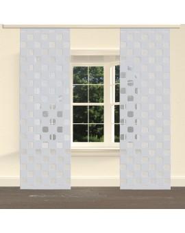 """Flächengardine """"Pia"""" mit Sherli-Muster Schiebevorhang grau am Fenster"""