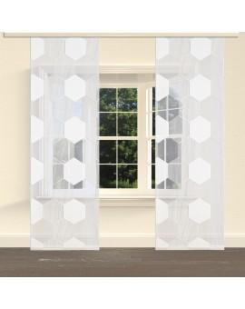 """Flächengardine """"Mia"""" mit Waben-Muster Schiebevorhang creme am Fenster"""
