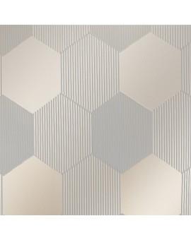 """Flächengardine """"Mia"""" mit Waben-Muster Schiebevorhang grau Stoffmuster"""