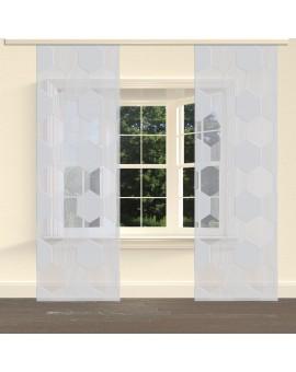 """Flächengardine """"Mia"""" mit Waben-Muster Schiebevorhang grau am Fenster"""
