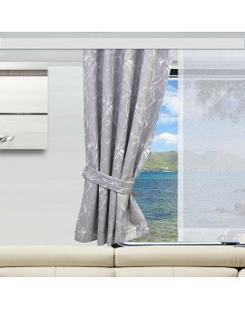 Wohnmobil-Vorhang Primavera grau gerafft mit Flächenvorhang