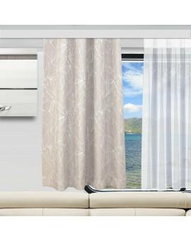 Wohnmobil-Vorhang Primavera rosenholz ungerafft an einem Wohnmobilfenster