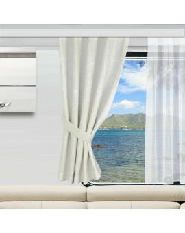 Wohnmobil-Vorhang Primavera wollweiß gerafft mit einem Caravan-Store