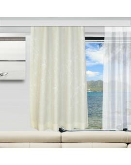 Wohnmobil-Vorhang Primavera wollweiß ungerafft an einem Caravan-Fenster