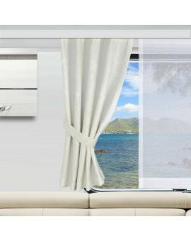 2 Raffhalter PRIMAVERA wollweiß Dekobeispiel an einem Wohnmobil-Fenster