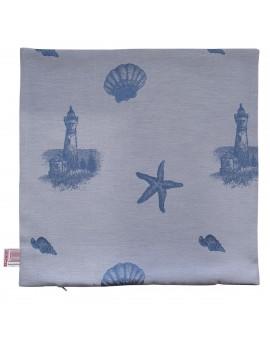 Hochwertige Kissenhülle Rügen blau mit Muster 40x40 cm ohne Füllung