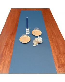 Tischläufer Rügen blau uni dekoriert