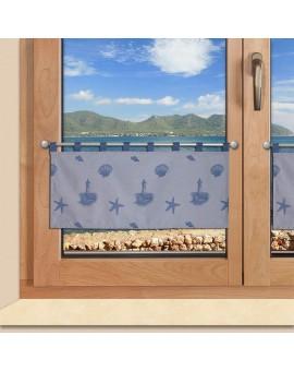 Scheibengardine Rügen in blau mit Schlaufen am Fenster