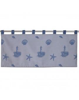 Scheibengardine Rügen in blau mit Schlaufen