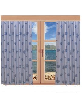 Hochwertiger Dekoschal Rügen blau mit Reihband am Fenster