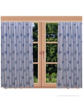 Hochwertiger Dekoschal Rügen blau mit Reihband am Fenster im Sommer